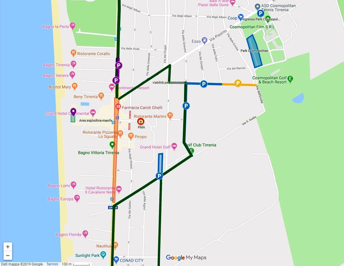 Mappa Parcheggi e Vie di Transito con chiusura viale tirreno-2