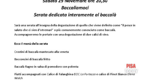 """""""Baccaliamoci"""", serata dedicata interamente al baccalà a L'Arte del bere e..."""